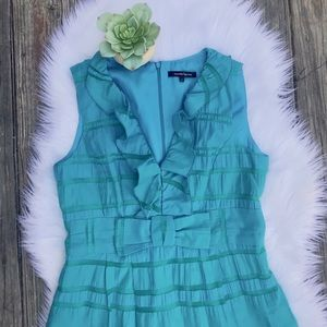 NANETTE LEPORE Ruffled V-Neck Teal Bow Dress